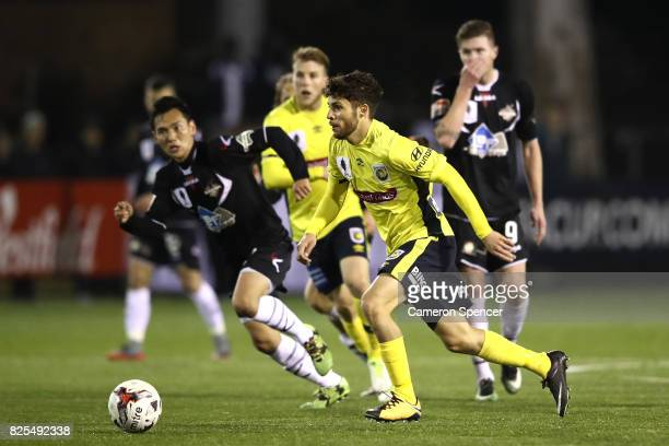 Daniel De Silva of the Mariners makes a break during the FFA Cup round of 32 match between Blacktown City and the Central Coast Mariners at Lilys...