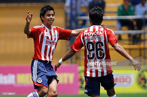 Daniel Delgado and William Guzman of Chivas celebrates a scored goal during a match against sao Paulo as part of the Copa Independencia SUB 17 2011...