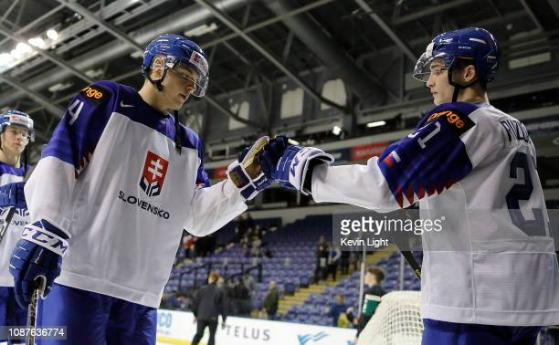 Daniel Demo and Adam Ruzicka of Slovakia against United States during the IIHF World Junior Championships at the Save-on-Foods Memorial Centre on...