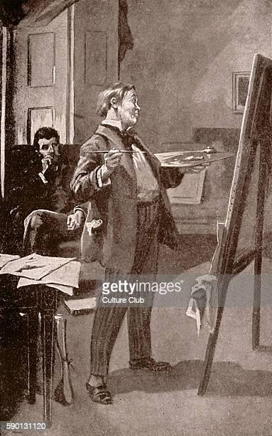 Daniel Deronda by George Eliot Hans Meyrick showing his paintings to Daniel Deronda Caption reads 'Art my Eugenius must intensify' Illustration by...