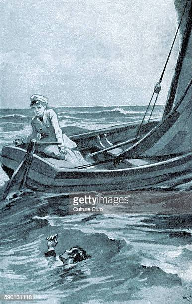 Daniel Deronda by George Eliot Henleigh Grandcourt drowns in a boating accident with Gwendolen in Italy Caption reads 'I saw him sink' Illustration...