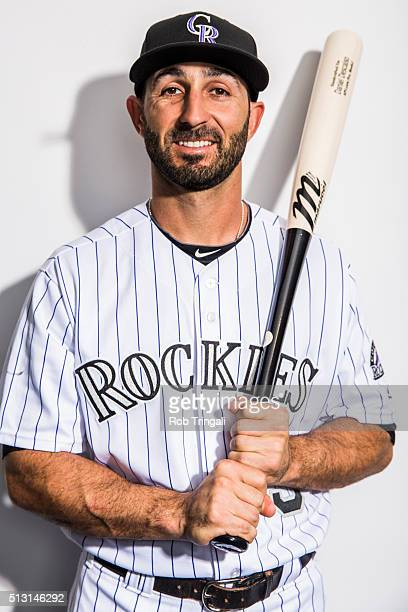 Daniel Descalso of the Colorado Rockies poses for a portrait at the Salt River Fields at Talking Stick on February 29 2016 in Sottsdale Arizona