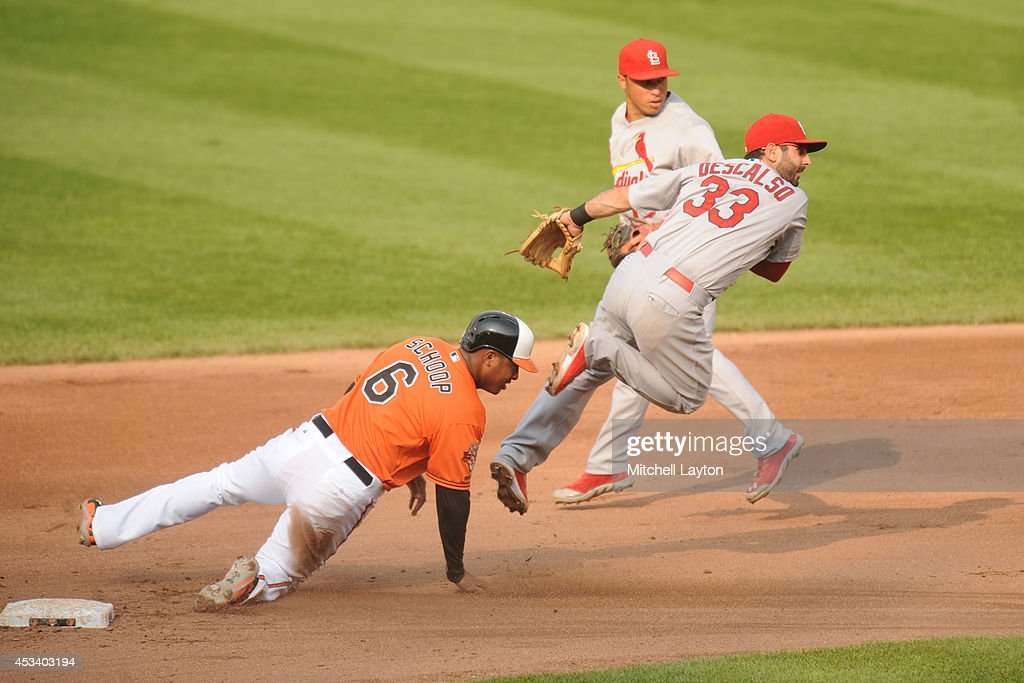 Daniel Descalso #33 of the St. Louis Cardinals forces out Jonathan Schoop #6 of the Baltimore Orioles at second base on a double play ball hit by Nick Markakis #21 in the forth inning during a baseball game on August 9, 2014 at Oriole Park at Camden Yards in Baltimore, Maryland.
