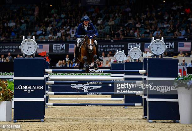 Daniel Deusser of Germany during the Longines Grand Prix event at the Longines Masters of Los Angeles 2016 at the Long Beach Convention Center on...