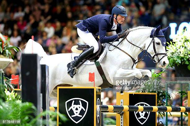 Daniel Deusser of Germany rides Cornet d'Amour during the Longines FEI World Cup Final Jumping on March 26 2016 in Gothenburg Sweden