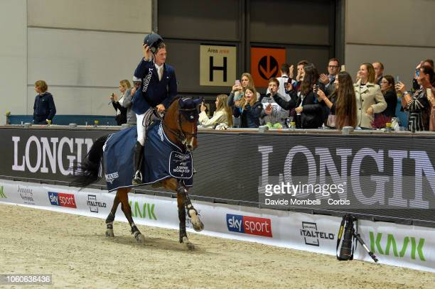 Daniel Deusser of Germany riding Calisto Blue during prize giving cerimony the Longines FEI Jumping World Cup Verona 2018 CSI5*W on October 28 2018...