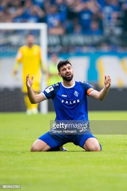 Daniel Di Gregorio of Mannheim is dejected during the Third League Playoff Leg 2 match between SV Waldhof Mannheim and KFC Uerdingen at...