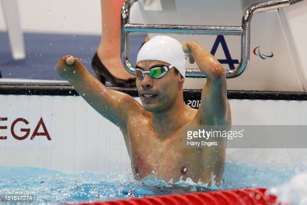 Daniel Dias of Brazil celebrates winning the gold after competing in the Men's 100m Freestyle S5 final on day 10 of the London 2012 Paralympic Games...