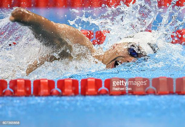 Daniel Dias of Brazil competes during Mens 100m freestyle S5 final at Olympic Aquatics Stadium on day 10 of the Rio 2016 Paralympic Games on...