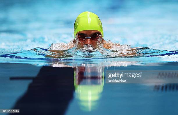 Daniel Dias of Brazil competes in the heats of the Men's 100m Breaststroke SB4 during Day Six of The IPC Swimming World Championships at Tollcross...
