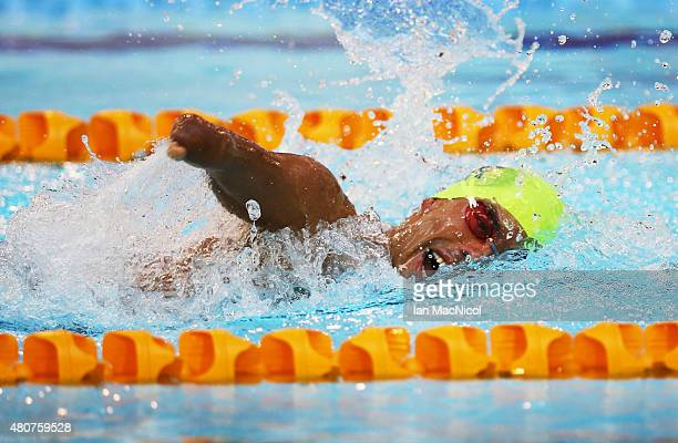 Daniel Dias of Brazil competes in the heats of the Men's 200m Freestyle S5 during Day Three of The IPC Swimming World Championships at Tollcross...