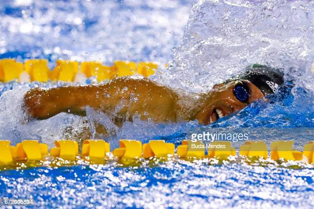 Daniel Dias of Brazil competes in the Men's 100m Freestyle Final A on day 03 of the 2017 Loterias Caixa Swimming Open Championship Day 3 at Brazilian...