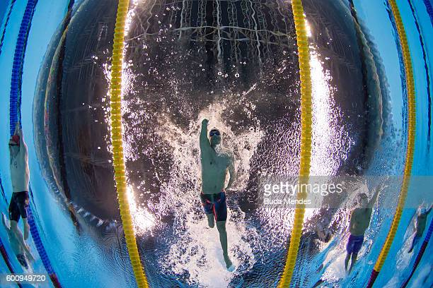 Daniel Dias of Brazil competes in the Men's 200m Freestyle S5 Final on day 1 of the Rio 2016 Paralympic Games at Olympic Aquatics Stadium on...