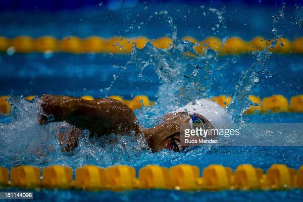 Daniel Dias of Brazil competes in the Men's 400m medley freestyle on day 4 of the London 2012 Paralympic Games at Aquatics Centre on September 02,...