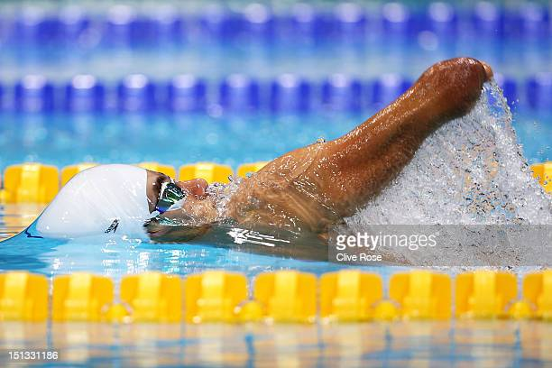 Daniel Dias of Brazil competes in the Men's 50m Backstroke S5 heat 3 on day 8 of the London 2012 Paralympic Games at Aquatics Centre on September 6...