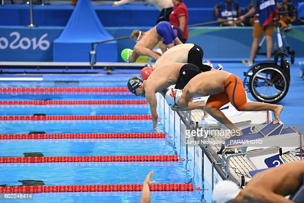 Daniel Dias of Brazil competes in the Men's 50m Butterfly S5 heat on day 3 of the Rio 2016 Paralympic Games at Olympic Aquatics Stadium on September...