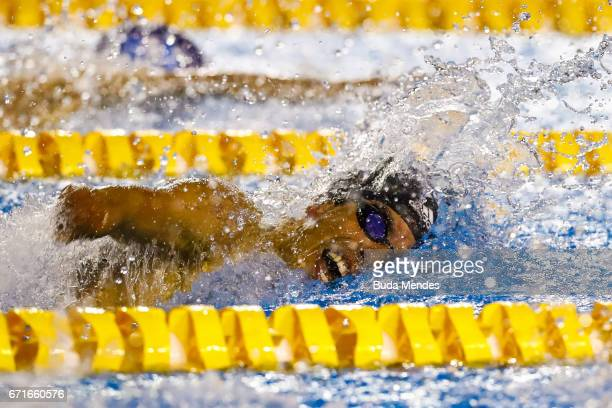 Daniel Dias of Brazil competes in the Men's 50m Freestyle on day 02 of the 2017 Loterias Caixa Swimming Open Championship Day 2 at Brazilian...