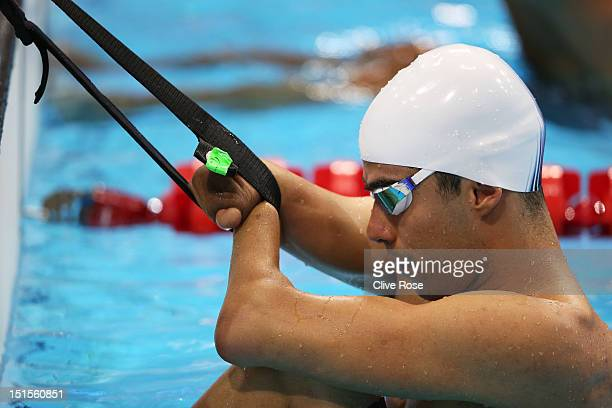 Daniel Dias of Brazil prepares to compete in the Men's 4x100m Medley 34 Points on day 10 of the London 2012 Paralympic Games at Aquatics Centre on...