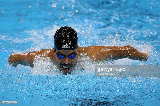 Daniel Dias of Brazil swims the Men's 50m butterfly S6 final during the Paralympic Swimming Tournament Aquece Rio Test Event for the Rio 2016...
