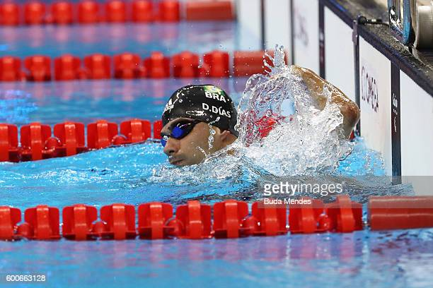 Daniel Dias of Brzil celebrates winning the gold medal in the Men's 200m Freestyle - S5 Final on day 1 of the Rio 2016 Paralympic Games at the...