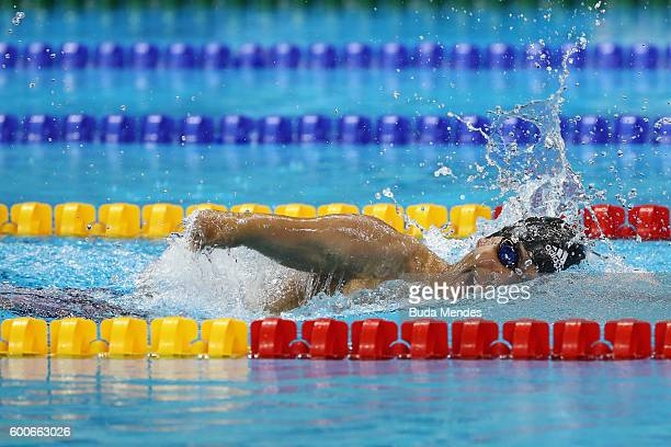 Daniel Dias of Brzil competes in the Men's 200m Freestyle S5 Final on day 1 of the Rio 2016 Paralympic Games at the Olympic Aquatics Stadium on...