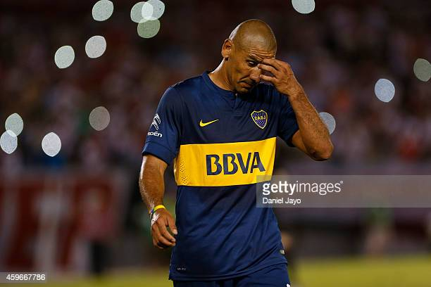 Daniel Diaz of Boca Juniors leaves the field after being sent off during a second leg semifinal match between River Plate and Boca Juniors as part of...