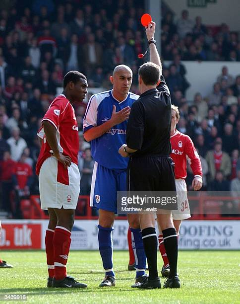 Daniel Dichio of Millwall and Wes Morgan of Nottingham Forest are sent off during the Nationwide Division One match between Nottingham Forest and...