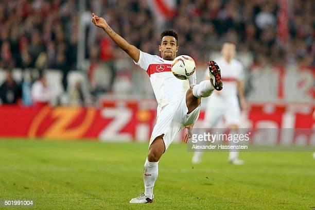 Daniel Didavi of Stuttgart battles for the ball during the Bundesliga match between VfB Stuttgart and VfL Wolfsburg at MercedesBenz Arena on December...