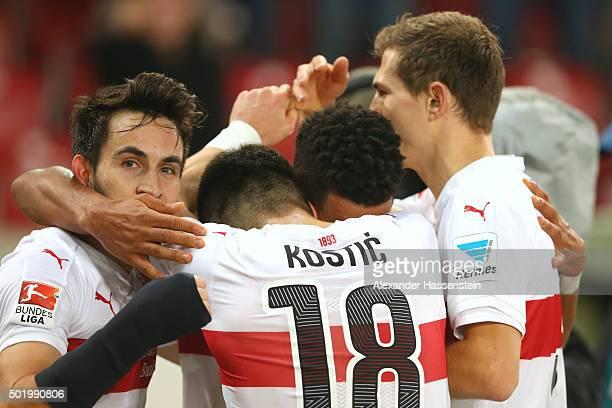 Daniel Didavi of Stuttgart celebrates scoring the first team goal with his team mate Filip Kostic during the Bundesliga match between VfB Stuttgart...