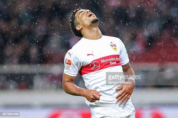 Daniel Didavi of Stuttgart reacts during the Bundesliga match between VfB Stuttgart and Hamburger SV at MercedesBenz Arena on January 30 2016 in...