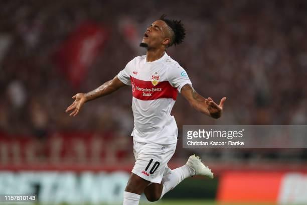 Daniel Didavi of VfB Stuttgart celebrates after scoring his team`s second goal during the Second Bundesliga match between VfB Stuttgart and Hannover...