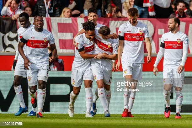 Daniel Didavi of VfB Stuttgart celebrates after scoring his team's first goal with teammates during the Second Bundesliga match between VfB Stuttgart...
