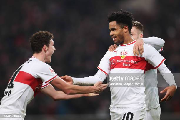 Daniel Didavi of VfB Stuttgart celebrates scoring his teams second goal of the game with team mates Benjamin Pavard and Alexander Esswein during the...
