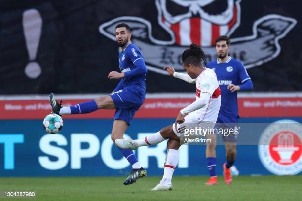 Daniel Didavi of VfB Stuttgart scores his team's fifth goal during the Bundesliga match between VfB Stuttgart and FC Schalke 04 at Mercedes-Benz...