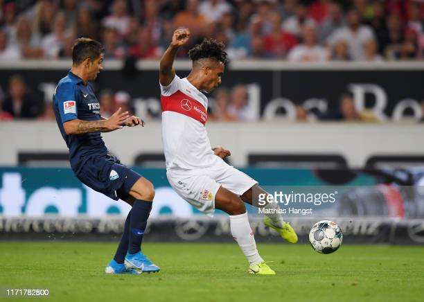 Daniel Didavi of VfB Stuttgart scores his team's first goal during the Second Bundesliga match between VfB Stuttgart and VfL Bochum 1848 at...