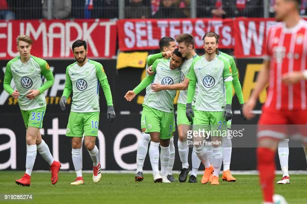Daniel Didavi of Wolfsburg is celebrated by his team after he scored a goal to make it 10 during the Bundesliga match between VfL Wolfsburg and FC...