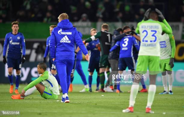 Daniel DidaviÊof Wolfsburg looks dejected at the end of the Bundesliga match between VfL Wolfsburg and FC Schalke 04 at Volkswagen Arena on March 17...