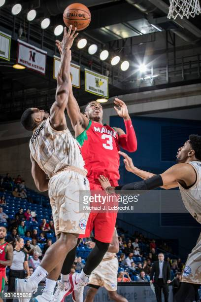 Daniel Dixon of the Maine Red Claws dunks against the Delaware 87ers during a GLeague game on March 13 2018 at the Bob Carpenter Center in Newark...