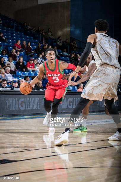 Daniel Dixon of the Maine Red Claws handles the ball against the Delaware 87ers during a GLeague game on March 13 2018 at the Bob Carpenter Center in...