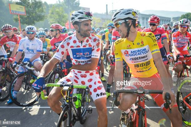 Daniel Dominguez in King of the Mountains Jersey and Luka Pacioni in the Leader Yellow Jersey ahead of the start to the second stage Jinzhong A to B...