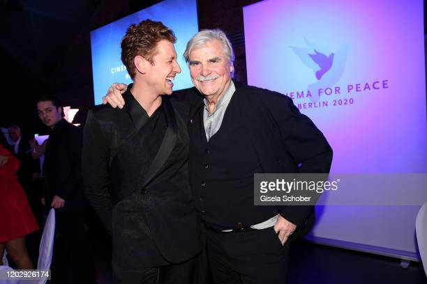 Daniel Donskoy and Peter Simonischek during the Cinema For Peace Gala at Westhafen Event & Convention Center on February 23, 2019 in Berlin, Germany.