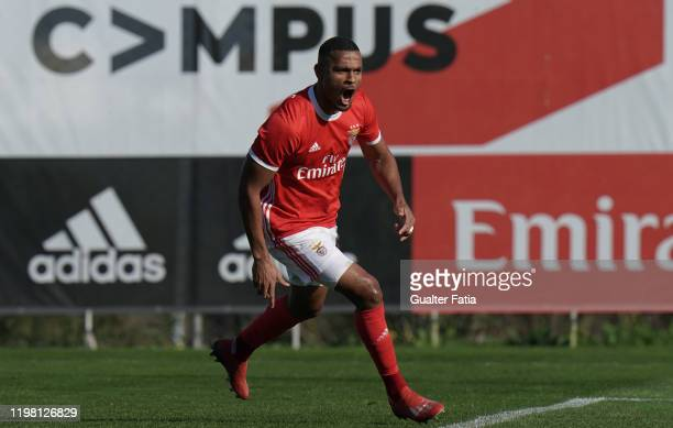 Daniel dos Anjos of SL Benfica B celebrates after scoring a goal during the Liga Pro match between SL Benfica B and UD Vilafranquense at Benfica...