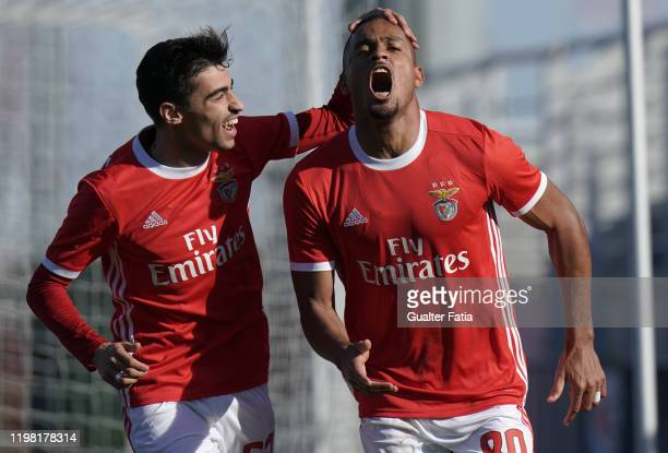 Daniel dos Anjos of SL Benfica B celebrates with teammate Rodrigo Conceicao of SL Benfica B after scoring a goal during the Liga Pro match between SL...