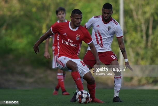 Daniel dos Anjos of SL Benfica B competes for the ball with Ulisses Oliveira of UD Vilafranquense during the Liga Pro match between SL Benfica B and...