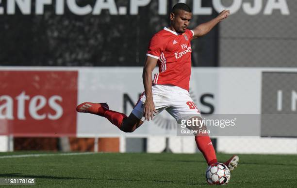 Daniel dos Anjos of SL Benfica B scores goal from the penalty spot during the Liga Pro match between SL Benfica B and UD Vilafranquense at Benfica...