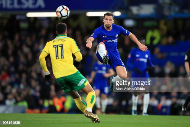 Daniel Drinkwater of Chelsea in action during The Emirates FA Cup Third Round Replay match between Chelsea and Norwich City at Stamford Bridge on...