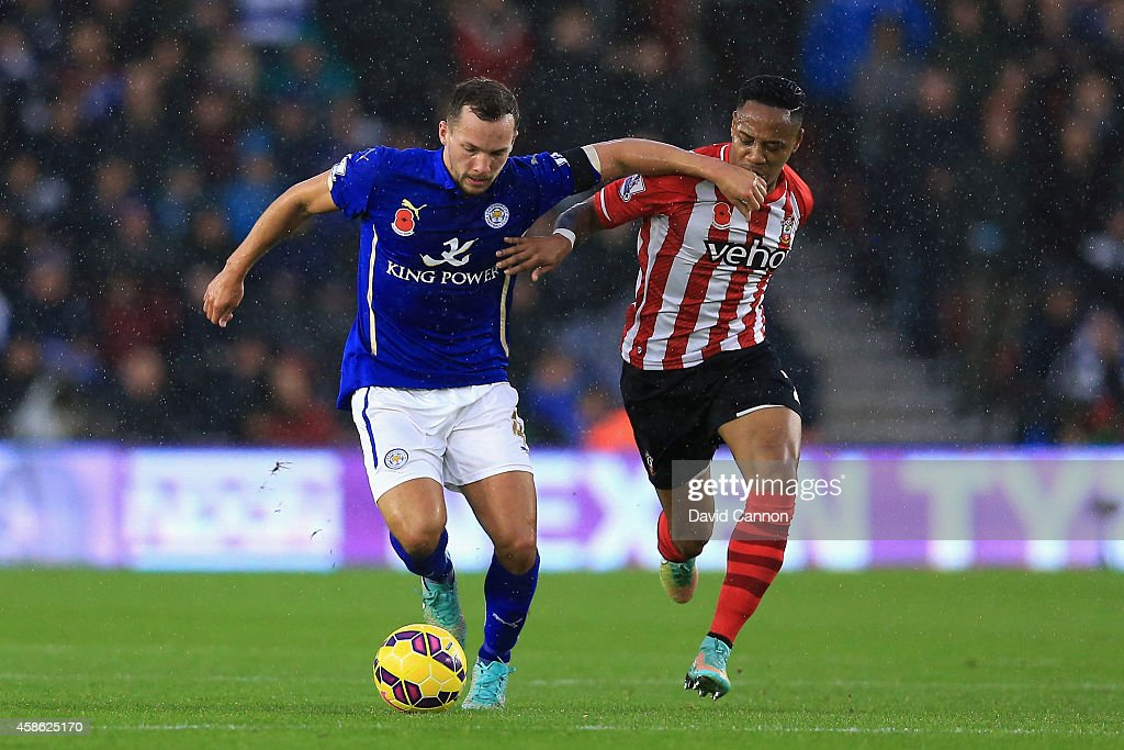 Daniel Drinkwater of Leicester City and Nathaniel Clyne of Southampton fight for the ball during the Barclays Premier League match between Southampton and Leicester City at St Mary's Stadium on November 8, 2014 in Southampton, England.