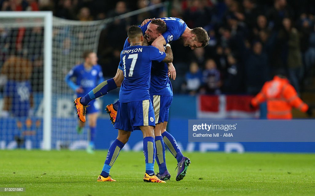 Daniel Drinkwater of Leicester City celebrates after he scores to make it 1-1 during the Barclays Premier League match between Leicester City and West Bromwich Albion at the King Power Stadium on March 01, 2016 in Leicester, England.