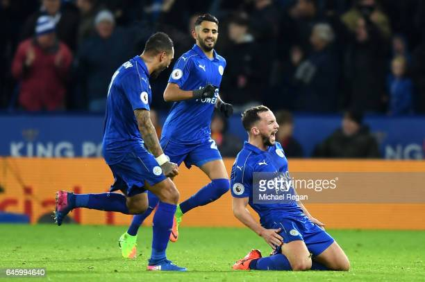 Daniel Drinkwater of Leicester City celebrates with team mates after scoring his sides second goal during the Premier League match between Leicester...