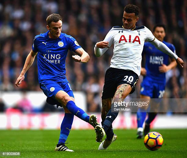 Daniel Drinkwater of Leicester City passes the ball while Dele Alli of Tottenham Hotspur attempts to block during the Premier League match between...